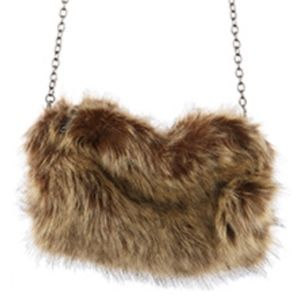 FAUX FUR HANDWARMER AND CLUTCH  BAG ACCESSORY